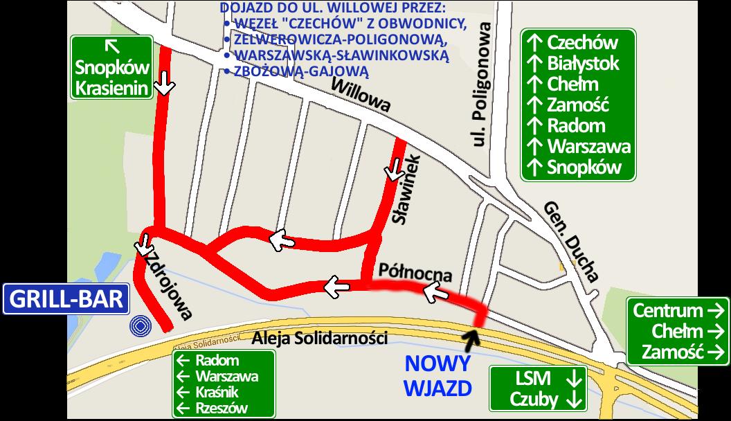 Dojazd Od Al Solidarności I Ul Willowej Mapka